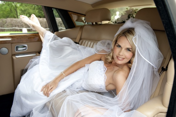 Rolls-Royce Phantom interior with bride