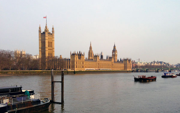 The River Thames and Houses of Parliament in London